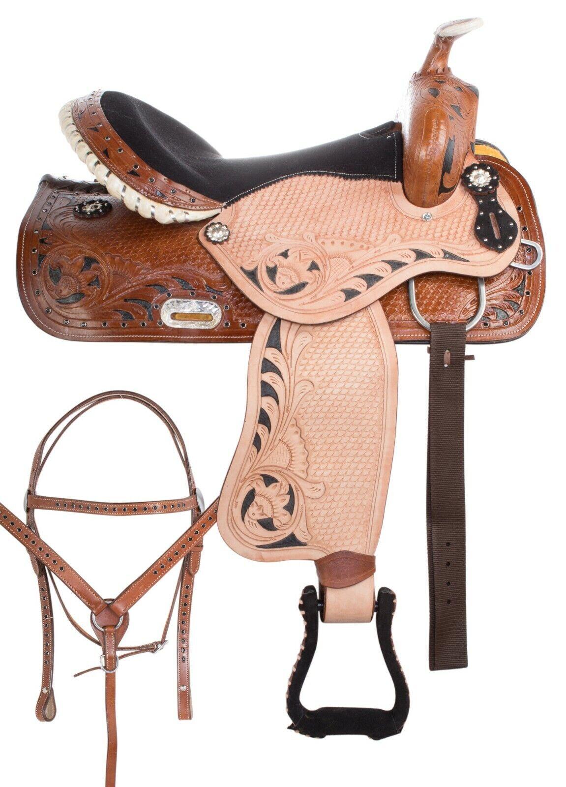 14 15 16 17  PLEASURE TOOLED LEATHER BARREL RACING WESTERN TRAIL HORSE SADDLE  quality assurance