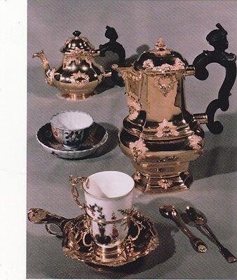 "*Auction/Postcard-""Fancy Set of Gold Tea/Coffee Servers w/ Cups & Silverware"""