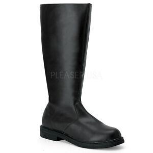 Mens-Black-Steampunk-DieselPunk-Basic-Cosplay-Costume-Boots-Captain-100-Funtasma