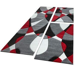 Bettumrandung Laufer Teppich Konturenschnitt Geometrisch Rot Grau