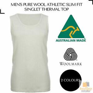 Men's 100% Pure Merino Wool Sleeveless Athletic SINGLET Top Thermal Underwear