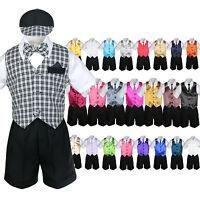 Baby Boy & Toddler Formal Vest Shorts Check Suit Extra Vest Necktie 7pc Set S-4t
