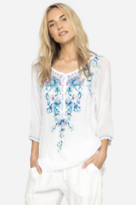 Beautiful-JOHNNY-WAS-Floral-Embroidered-BLUE-MOON-Button-Neck-Tunic-L-268