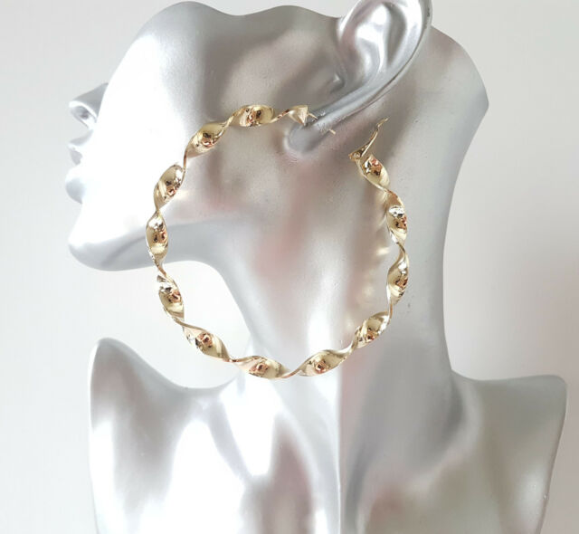 a06c40c8be966 Large 8cm Gold Tone Oversized Chunky Twisted Hoop Earrings