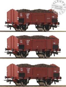 ROCO-76199-set-3-carri-merci-aperti-FS-carico-carbone-ep-III-1-87
