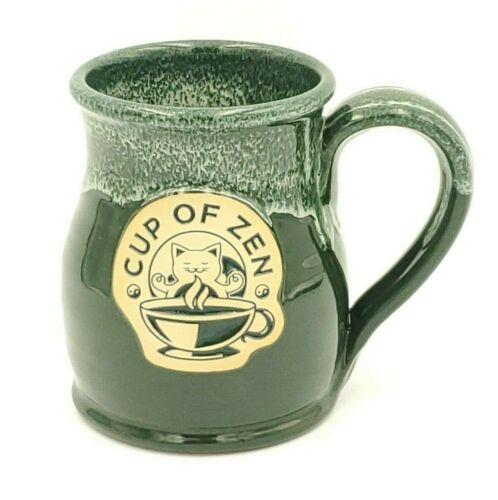 Deneen Pottery Hand Thrown Cup of Zen Tall Belly Mug Green 14 floz