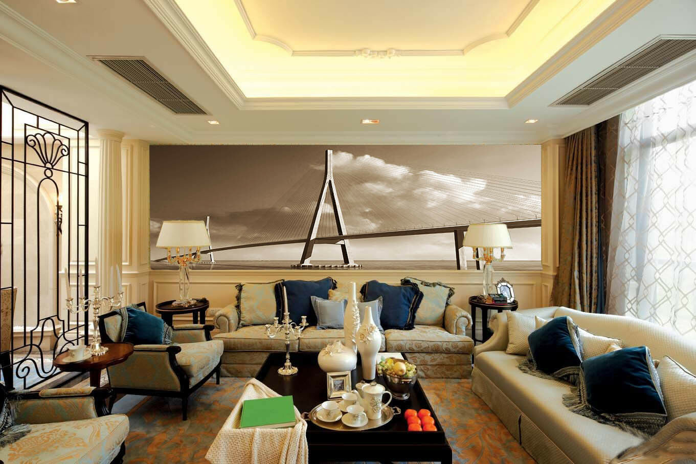 3D Clouds Big Bridge 8 Wall Paper Murals Wall Print Wall Wallpaper Mural AU Kyra