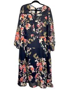 City-Chic-Womens-Maxi-Dress-Black-Floral-Floaty-Boho-Long-Sleeve-Plus-Size-20-L