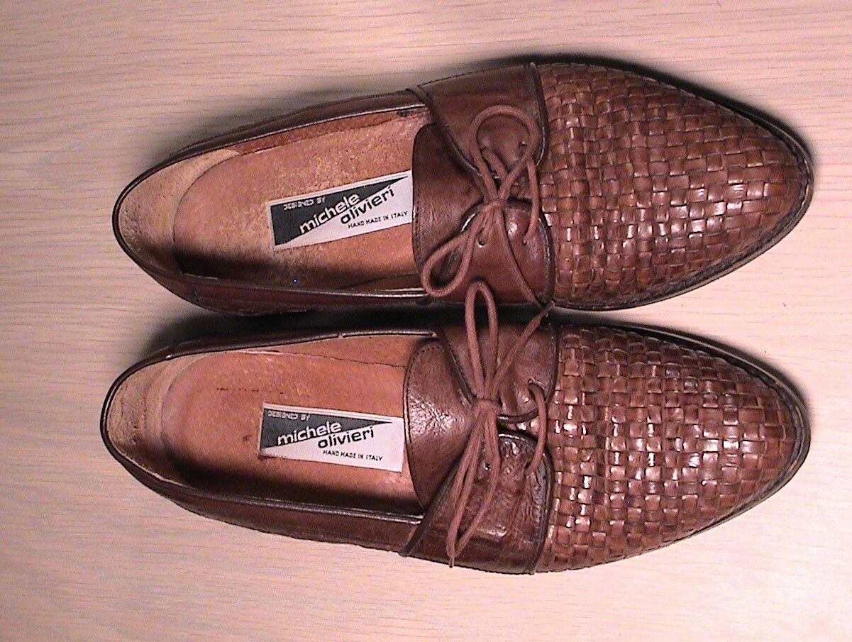 Michele Olivieri Men's Dress shoes Size 8.5 Hand Crafted in  Woven Leather