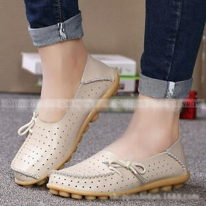 New-Women-039-s-Leather-Hollow-Shoes-Casual-Ballet-Slip-On-Flats-Loafers-Single-Shoe