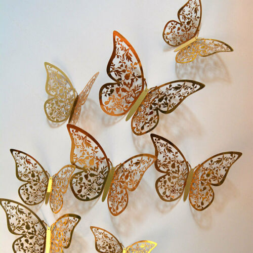 Details about  /3D Butterfly Wall Stickers Metallic Mirror Art Decals Home Room Kids DIY 12Pcs
