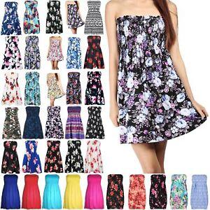 6eb8480662 Image is loading Womens-Floral-Sheering-Top-Ladies-Swing-Bandeau-Boobtube-