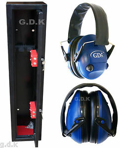 GDK-3-gun-cabinet-3-shotgun-safe-with-Blue-Electronic-ear-defenders-Ear-muffs