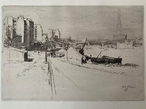 Walter zeising etching eau forte etching seine quay port d' Auteuil eiffel tower