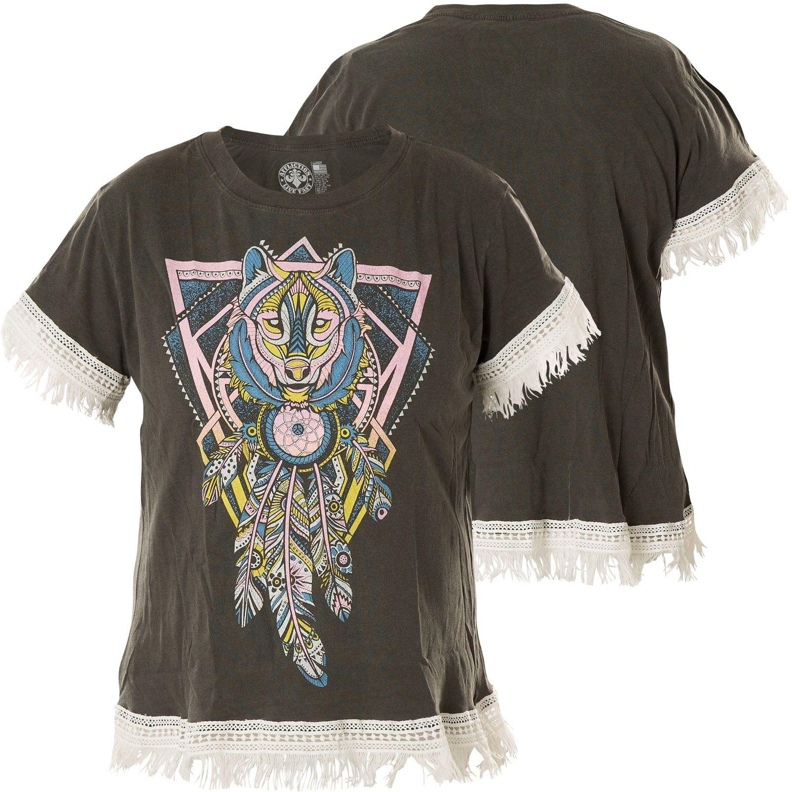 AFFLICTION Damen T-Shirt Featherot Wolf Grau