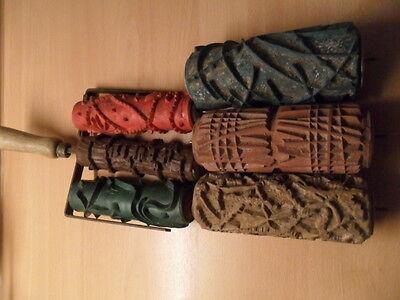 6 alte Malerwalzen  Strukturroller   Malerroller mit Halter