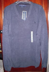 U.S. Polo Blue V-Neck Sweater Pullover  XL 100% Acrylic  Soft