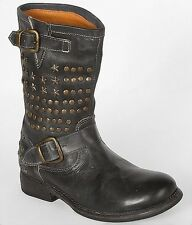 BED:STU  Whacky rock star  BIKE women boots Hand made BLACK US 8.5  EUR 38.5