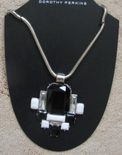 Dorothy Perkins Silver colour square shape Black /& white stone Necklace New