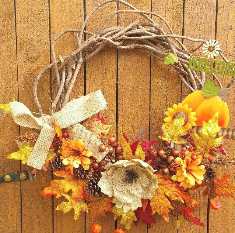 20  Fall Grapevine Wreath Zinnias Berries Leaves with Burlap Flower