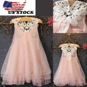 Girls-Beauty-Flower-Princess-Dress-Baby-Party-Pageant-Lace-Tulle-Tutu-Dress-O47