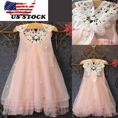 Girls Beauty Flower Princess Dress  Baby Party Pageant Lace Tulle Tutu Dress O47