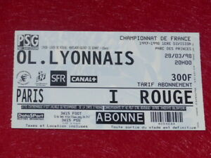 COLLECTION-SPORT-FOOTBALL-TICKET-PSG-OL-LYONNAIS-28-MARS-1998-Champ-France