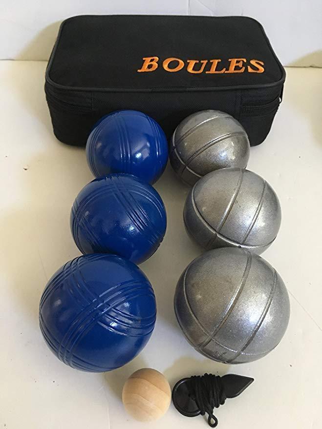 6 ball 73mm Metal Boules   Petanque set - 3 blueee balls and 3 striped sand balls
