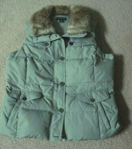 Lands' End Olive Down Vest with Removable Faux Fur Collar Women's Size 14-16