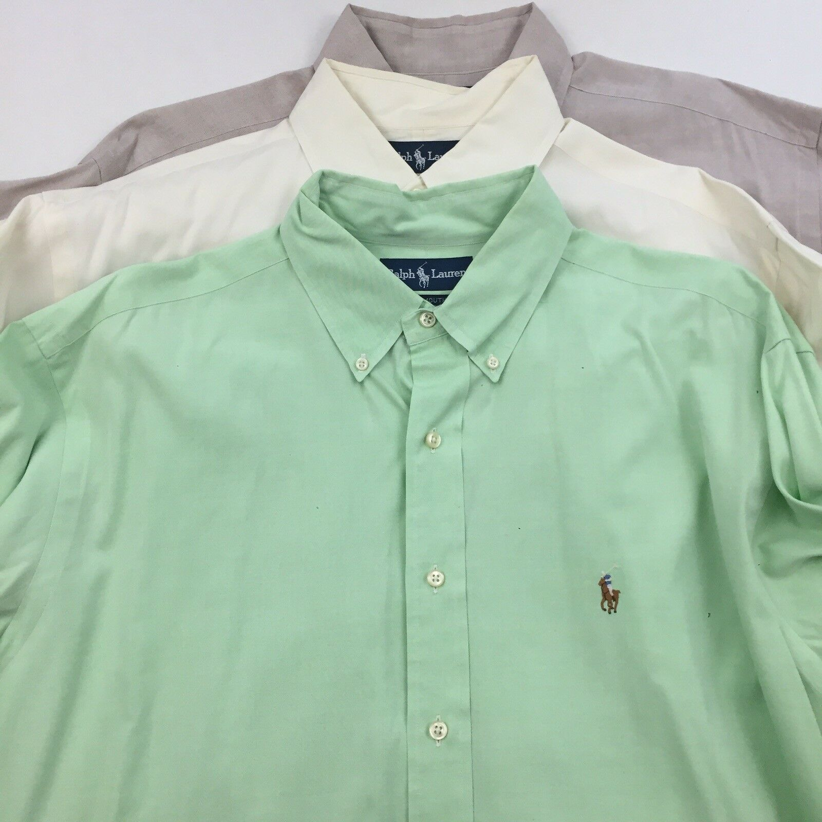 Lot of 3 RALPH LAUREN Yarmouth 16 1/2 Pony Large Dress Shirt Long Sleeve Oxford