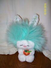 Vintage 1983 80's Dakin Aqua Blue Green Frou Frou Plush Bunny With Carrot