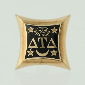 Delta-Tau-Delta-Badge-14k-Yellow-Gold-Black-Enamel-Fraternal-Memorabilia