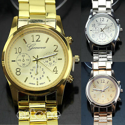 Fashion Geneva Ladies Women Girl Unisex Stainless Steel Quartz Wrist Watch