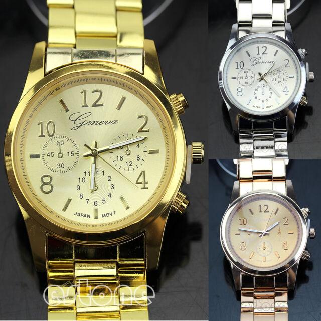 Fashion Geneva Ladies Women Girl Unisex Stainless Steel Quartz Wrist Watch New