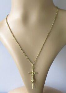 Collar de Oro de 9ct - 9ct Oro Cruz Colgante Crucifijo & 9ct Cadena de oro (9.9g)