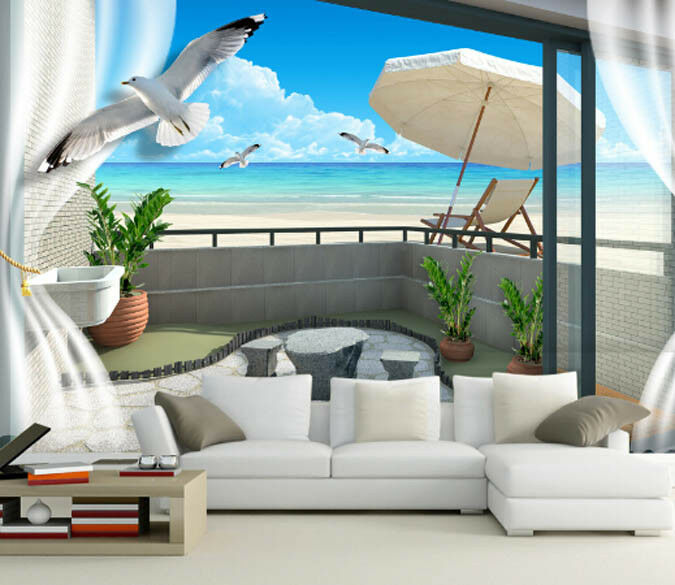 3D Balkon Möwen Strand 844 Tapete Wandgemälde Tapete Tapeten Tapeten Tapeten Bild Familie DE | Produktqualität  | Bestellung willkommen  |  944e47