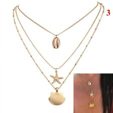 UK BOHO SHELL CHARM MULTI LAYER NECKLACE Chain Gold Beach Ocean Jewellery Gift