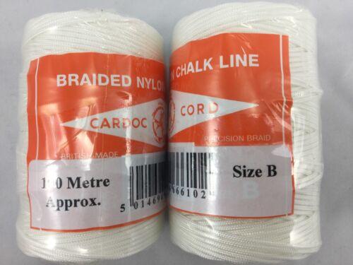 2 x 100 m CARDOC B Brique Bloc Line UK Made Haute Qualité Tressé Nylon Line