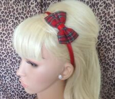 RED ROYAL STEWART TARTAN CHECK FABRIC SMALL SIDE BOW ALICE HAIR HEAD BAND CUTE