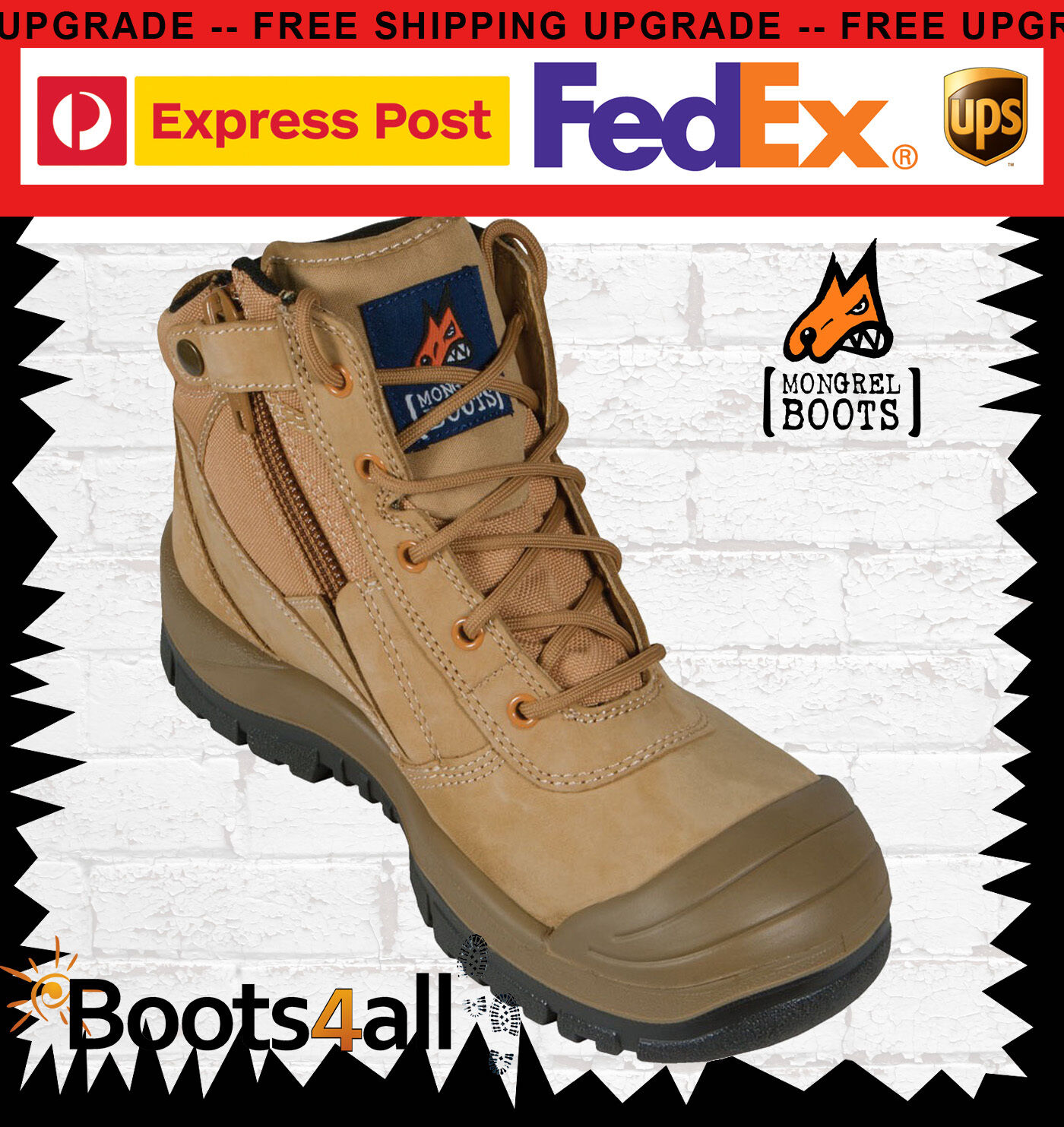 NEW Mongrel Work Boots Zip Safety Steel Toe Wheat Scuff Cap 461050