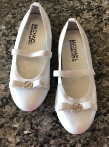 4af5bc5031bd MICHAEL KORS GIRLS ROVER LUX WHITE PATENT BALLERINA FLATS SHOES SZ ...