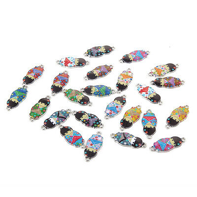 10pcs Mixed Skull Oil Drip Connectors Alloy Charms Fit DIY Bracelet Jewelry