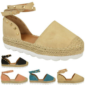 Details about New Womens Ladies Espadrilles Ankle Strappy Sandals Rock Stud Summer Shoes Size
