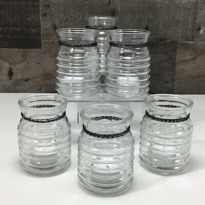 7 Ribbed Glass Jars W New Tea Lights, Noma Jam Jar Outdoor Lantern