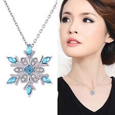 Mode Frauen Elegante Schneeflocke geformte Kristall Diamant-Halskette Geschenk