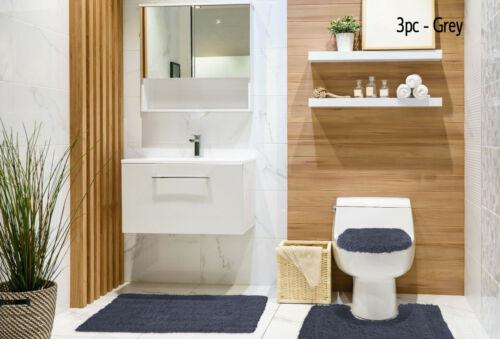3 Piece Bathroom mat /& Pedestal mat set 100/% Cotton Chenille Shaggy Non Slip 2