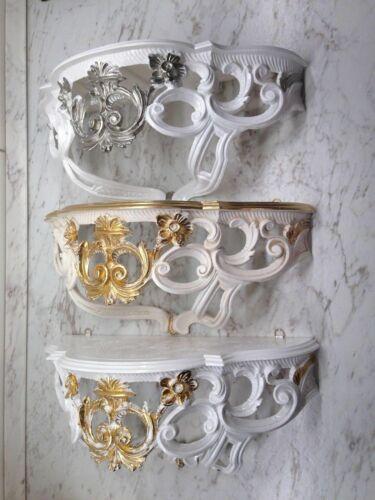 Wandspiegel mit Konsole Barock Gold Silber Schwarz Weiß 50x76cm Spiegel Antik