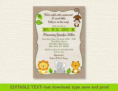 Safari Friends Jungle Animals Printable Baby Shower Invitation Editable PDF