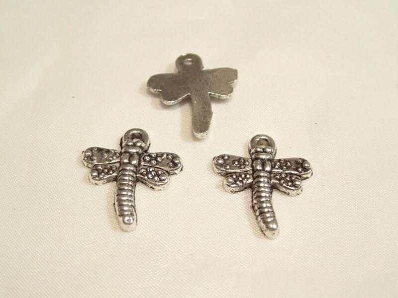 15 Pcs X Silvertone Charms : St14 Dragonfly