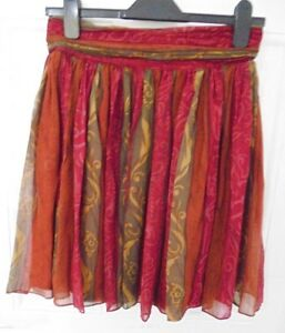 Vintage-LAURA-ASHLEY-Size-14-Red-Mustard-Brown-100-Silk-Skirt-Lined-Back-Zip